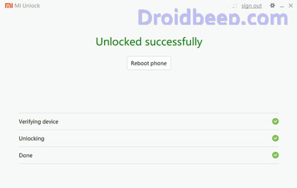 unlock bootloader Redmi 4 success