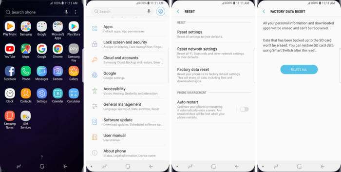 Factory Reset Samsung via Settings Menu