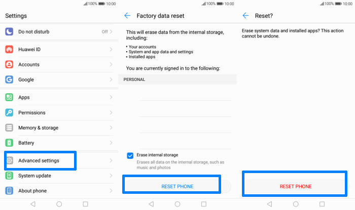 Factory reset Honor 8 Smart